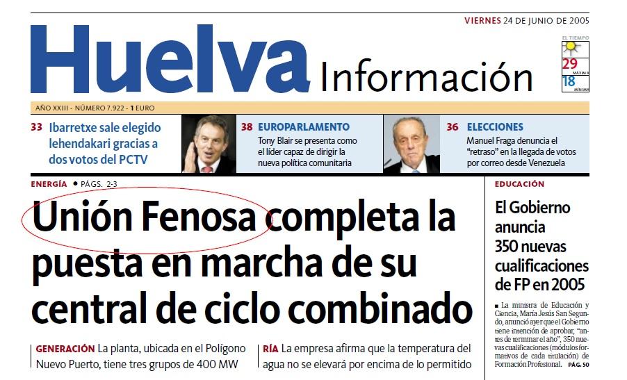 Nota de prensa sobre Unión Fenosa