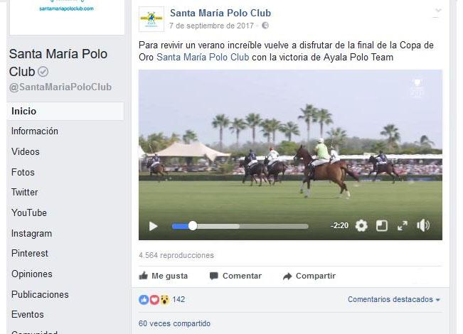 Fanpage de Facebook del Santa María Polo Club