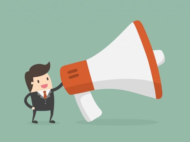Comunicación de anuncio con megáfono